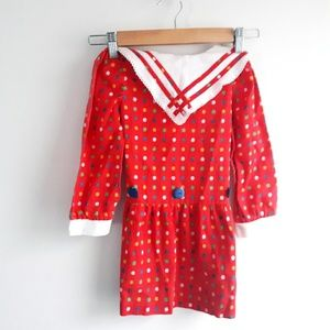 Vintage Red School Girl Dress Size 2/3T
